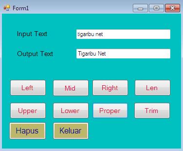 Cara Membuat Program Fungsi String Pada VB.Net (Left, Mid, Right, Len, Upper, Lower, Proper, dan Trim)