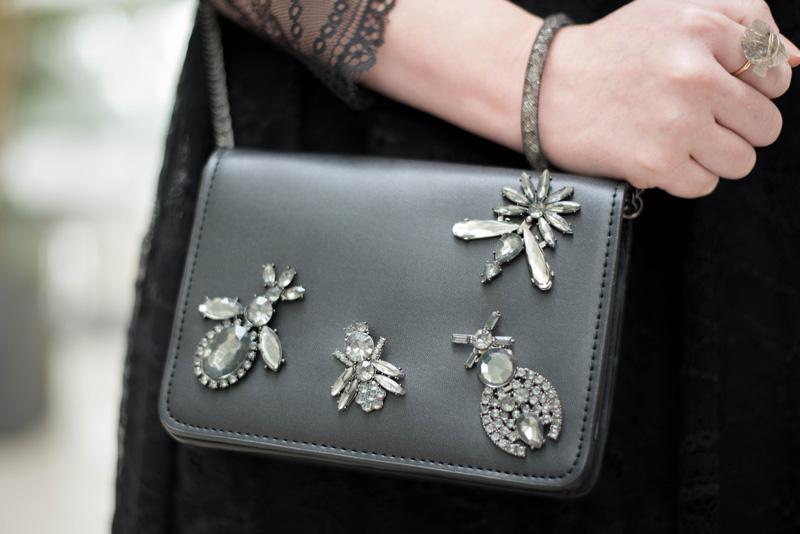 Zara Stone Detail Cross Body Bag