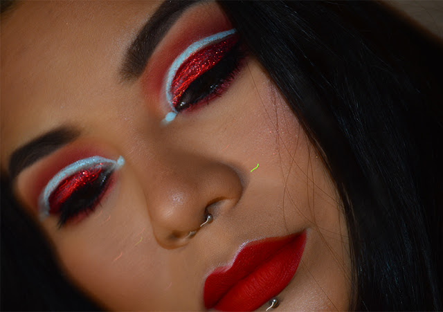 red glitter eye makeup, desert dusk huda beauty, glisten here revolution pro, imagic face & body paint