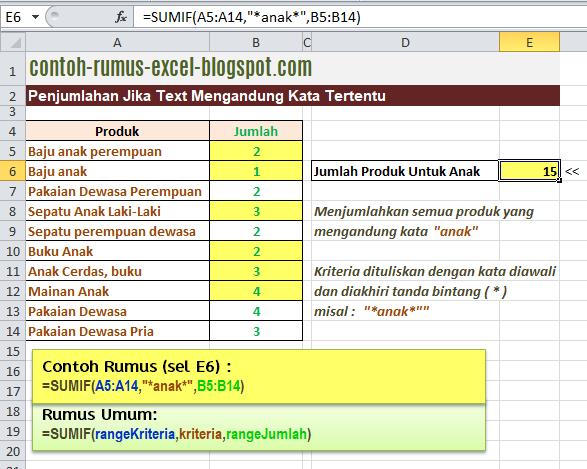Contoh Rumus Excel Penjumlahan Jika Text Mengandung Kata