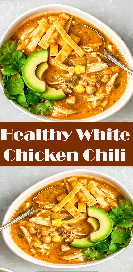 Healthy White Chicken Chili #chili #gamedayfood #slowcooker #highprotein #healthydinner #mealprep #glutenfree #chickenrecipe #chickpeas