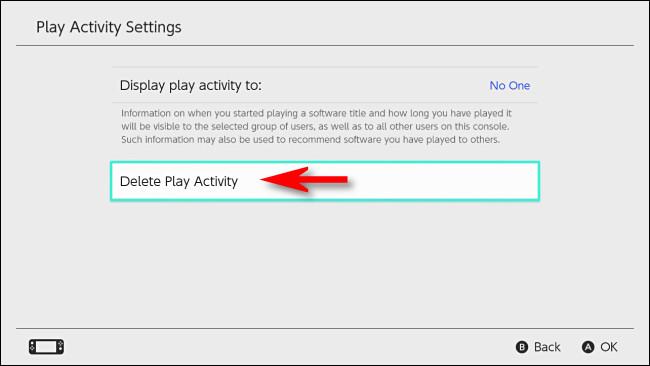 """في تبديل إعدادات المستخدم ، حدد """"حذف نشاط التشغيل""""."""