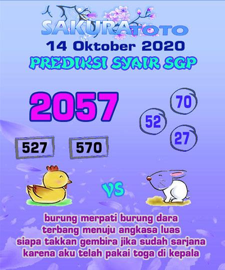 Prediksi Sakuratoto SGP Rabu 14 Oktober 2020
