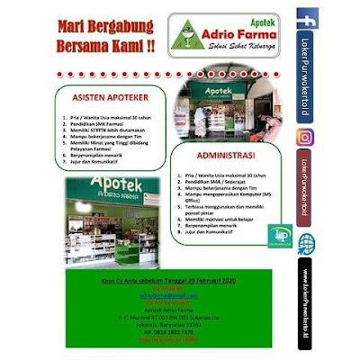 Info Lowongan Kerja Apotek Adrio Farma Purwokerto Februari 2020