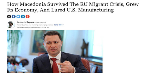 Forbes interviews Gruevski on overcoming the political and migrant crises while maintaining economic growth