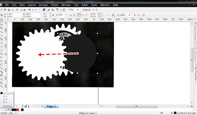Clique na engrenagem com a ferramenta  Pick Tool.  Depois, com o botão direito, na aba de cor, no branco.   Isso muda o contorno, depois na mesma cor com o botão esquerdo, isso muda a cor do meio, preenche a peça. Faz o mesmo com o círculo só que pinta ele de preto.  Pode escolher preto R3G3B3.