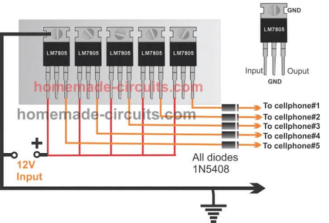 upgrading current by connecting 7805 ICs in parallel