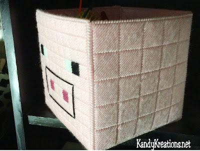 Decorate your child's room with this easy and fun Minecraft Pig plastic canvas basket.  This free plastic canvas pattern is perfect for holding all kinds of toys and junk to keep your Minecraft bedroom organized and fun.