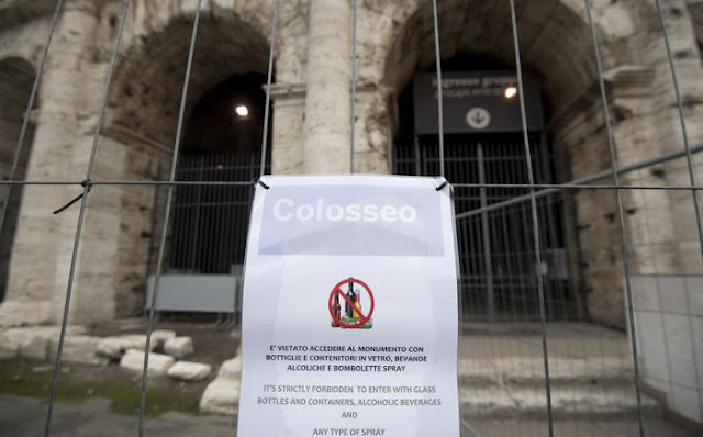 Officials eye tighter security at Colosseum after graffiti sprayed on pillar