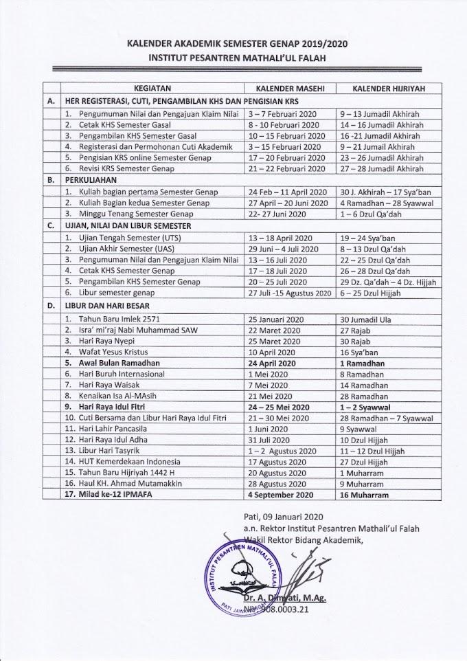 Kalender Akademik IPMAFA Semester Genap 2019