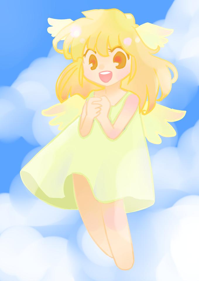 青空と微笑みの鳥少女。