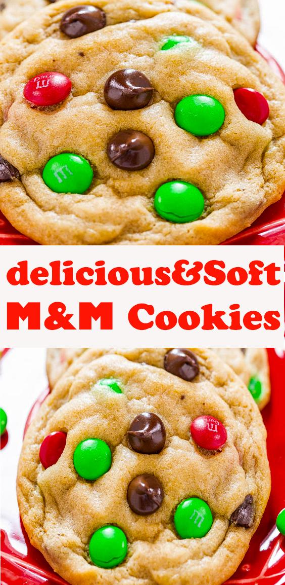 Soft M&M Cookies #Soft #M&M #Cookies #dessert