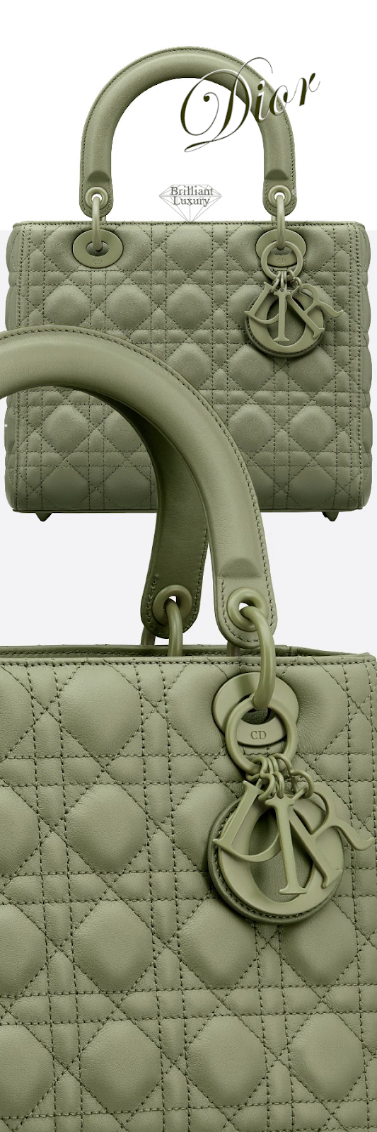 Dior Lady Dior Dusty Jade Ultramatte Calfskin Bag #brilliantluxury