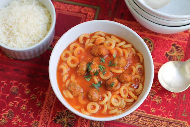 Food Lust People Love: With tiny Italian sausage meatballs and anelli pasta in a rich tomato sauce, these scratch Spaghetti Os are so much better than what you can buy in the can!