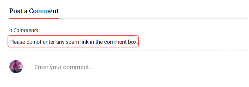 Blogger comments spam protection