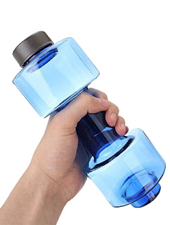 Gift for Guys - Dumbbell Water Bottle : Plastic Dumbbell Water Fridge Bottle for Gym Lovers, Pack of 1(Multi Color) by Ribber