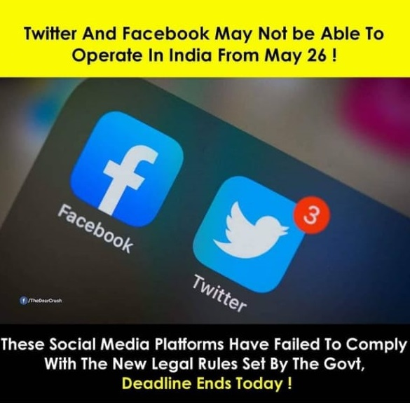 Twitter and Facebook is going to stop operating in India from 26 may 2021