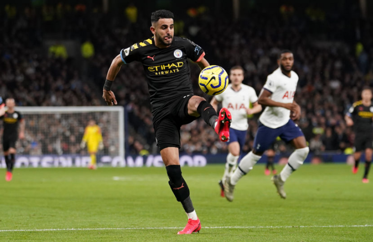 Mahrez brings the ball under control during EPL action