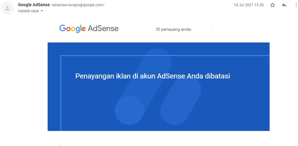 Penayangan iklan di akun adsense anda dibatasi