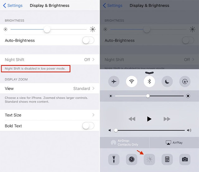 With the release of fifth beta of iOS9.3 a days ago, Apple has updated Night Shift to be disable when in Low Power Mode