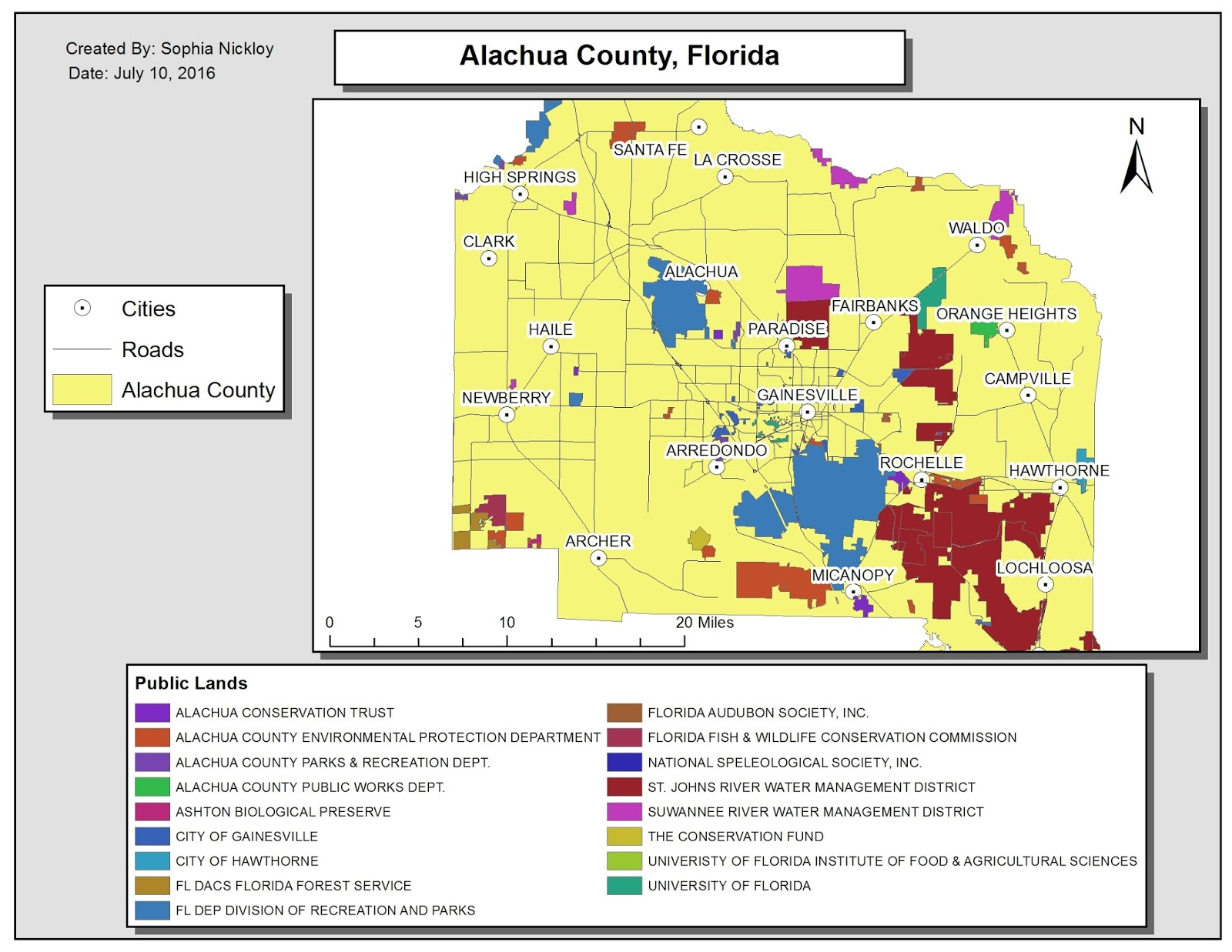 the map above displays alachua county florida with all of the public lands within the county this map was compiled in arcmap then all of the layers were