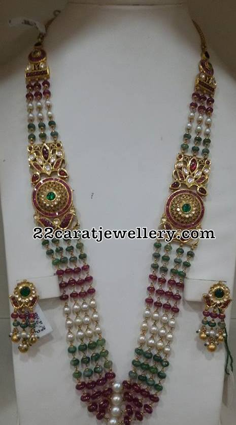 Multi Beads Set with Kundan Earrings