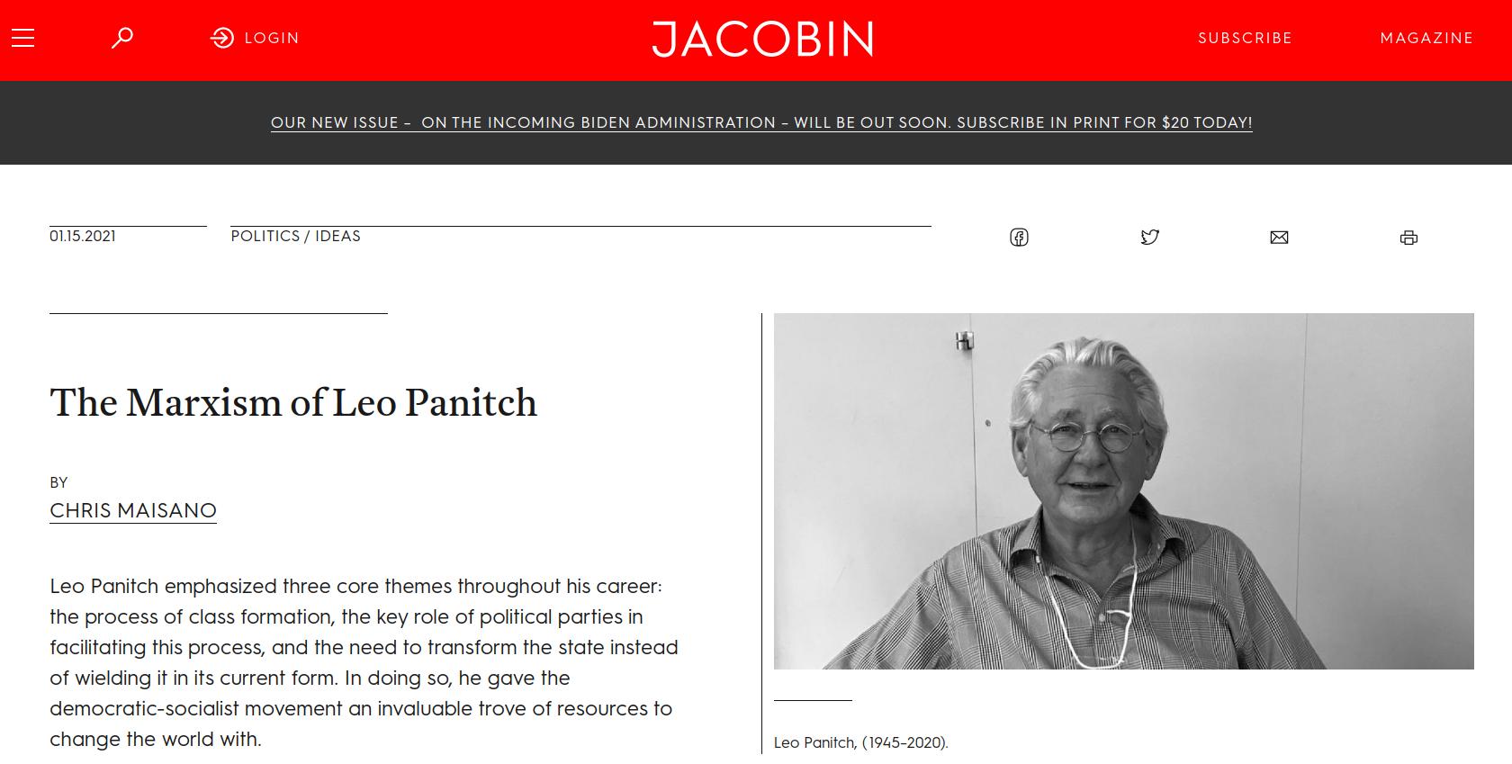 Leo Panitch, 1945-2020