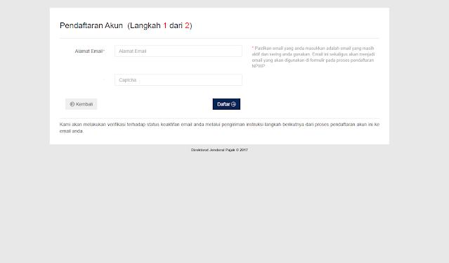 Tampilan website untuk daftar akun https://ereg.pajak.go.id/daftar