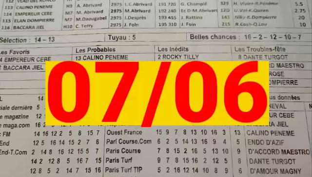 programme quinté Pronostic quinté+ lundi 07/06/2021