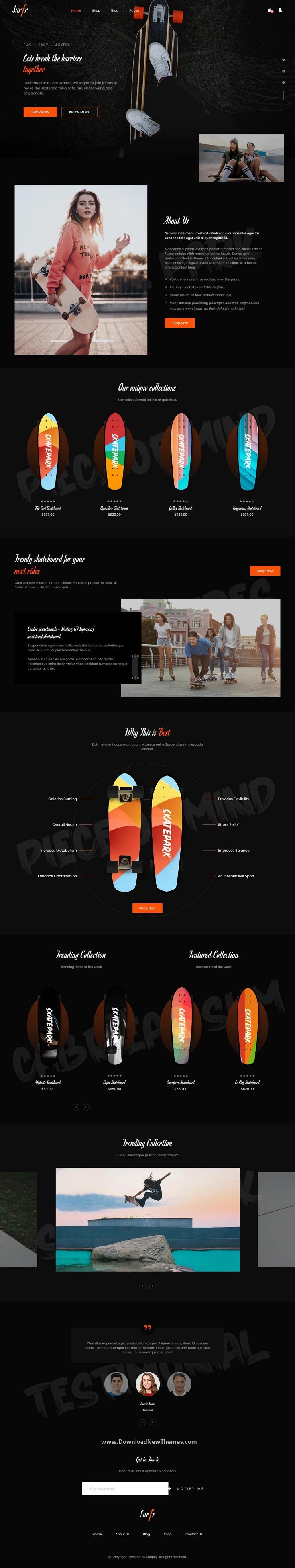 Skateboard Single Product Shopify Theme