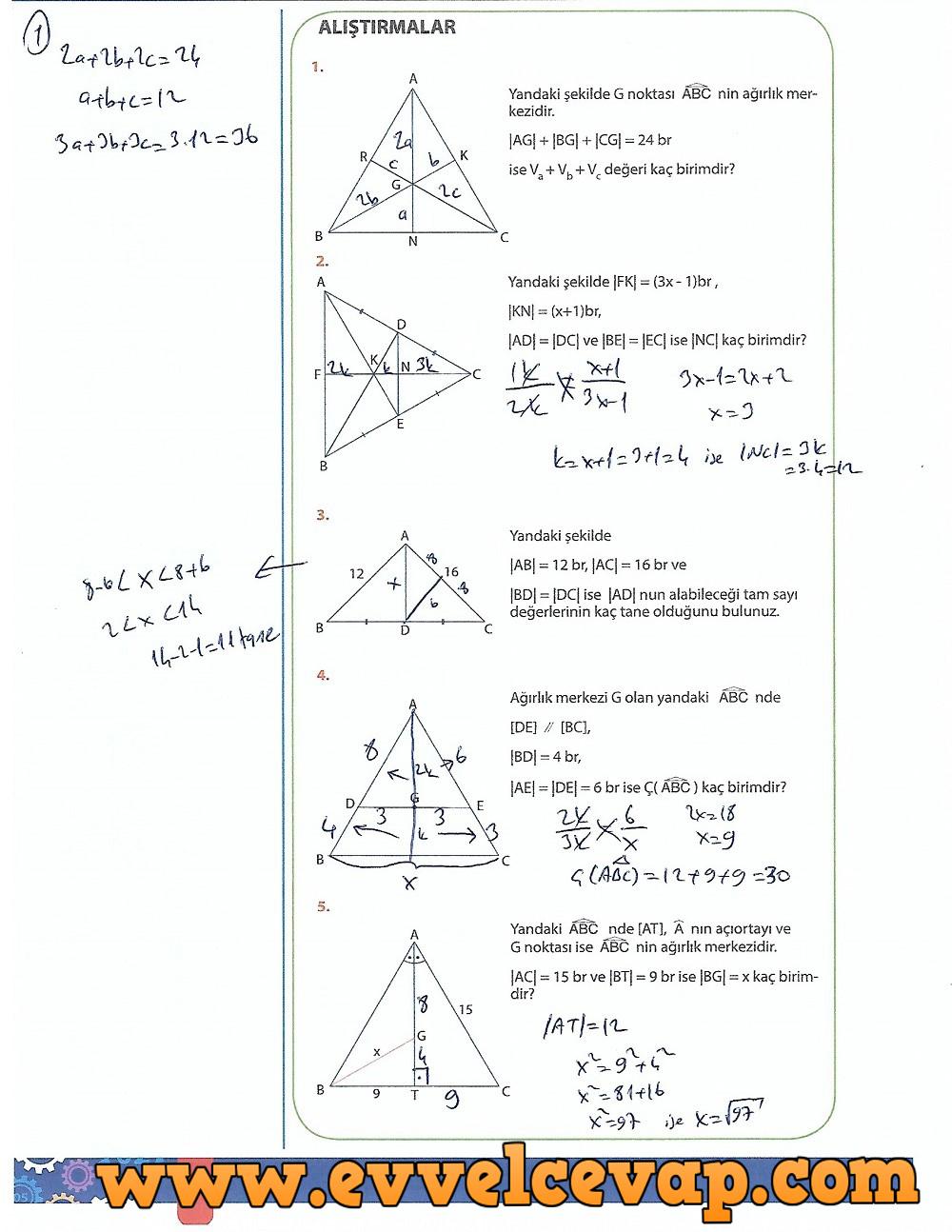 9.Sınıf Matematik MEB Yayınları Ders Kitabı 242.Sayfa Cevapları Üçgenler