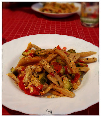 Scialatielli homemade... con pomodori, zucchini e colatura d'alici...