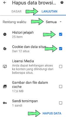 Menghapus history pencarian chrome android aplikasi