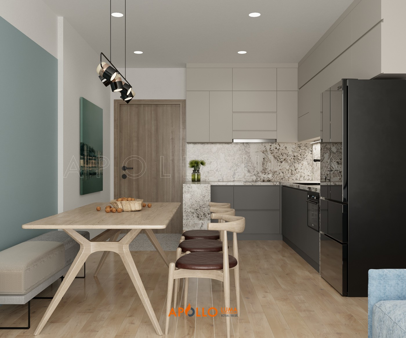 Thiết kế nội thất căn 3PN (75m2) S4.02-12 Vinhomes Smart City Tây Mỗ
