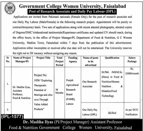 Govt College GC University Faisalabad Jobs For Research Associate, Labor and Others February 2020