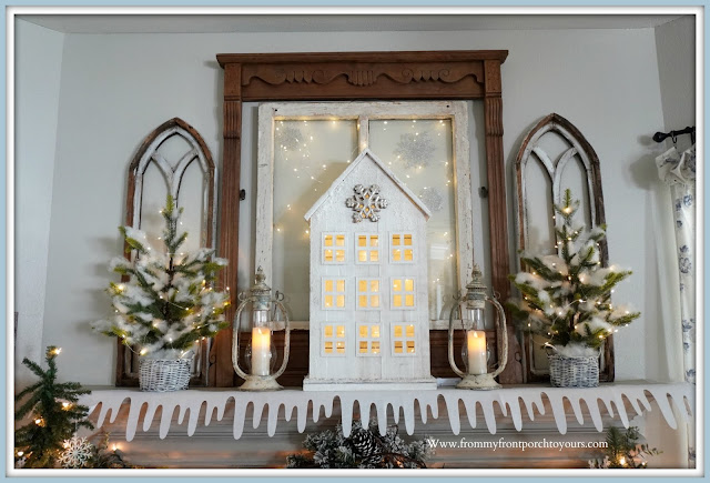 Winter -Fireplace -Mantel -Design-Cottage-Style-Farmhouse-Style-Vintage-Style-Lanterns-Flameless-Candles-Fairy Lights--From My Front Porch To Yours