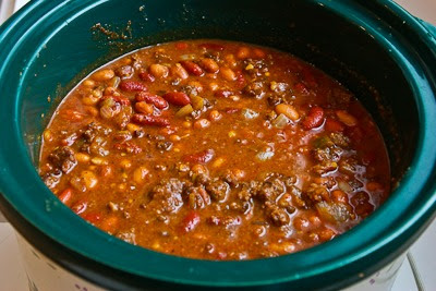 Slow Cooker Beef and Refried Bean Chili with Salsa and Lime found on KalynsKitchen.com