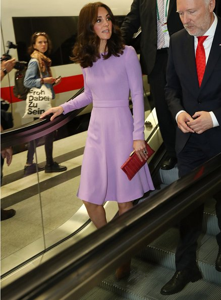 Kate Middleton wore Emilia Wickstead Esther Pespoke wool-crepe midi dress. Kiki McDonough Amethyst Earrings Gianvito Rossi Suede Pumps