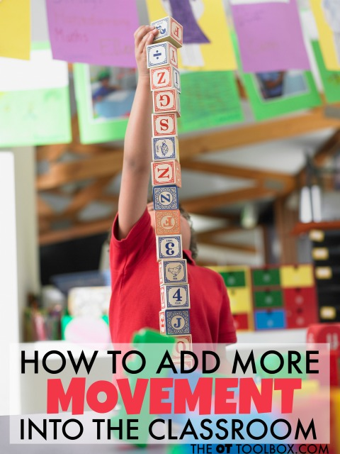These are great ideas for how to incorporate movement into the classroom for movement and learning, perfect ideas for teachers to help kids with attention or sensory needs, and any student who needs more movement in the classroom and throughout the school day.