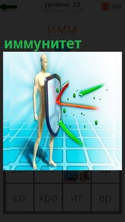Человек со щитом, его защищает иммунитет, микробы разбиваются о защиту
