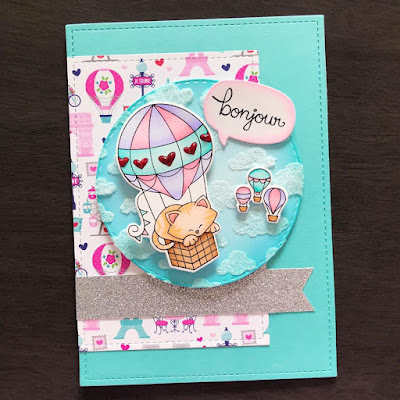 Bonjour by Amy T. features Newton Dreams of Paris, Speech Bubbles, and Cloudy Sky by Newton's Nook Designs; #newtonsnook
