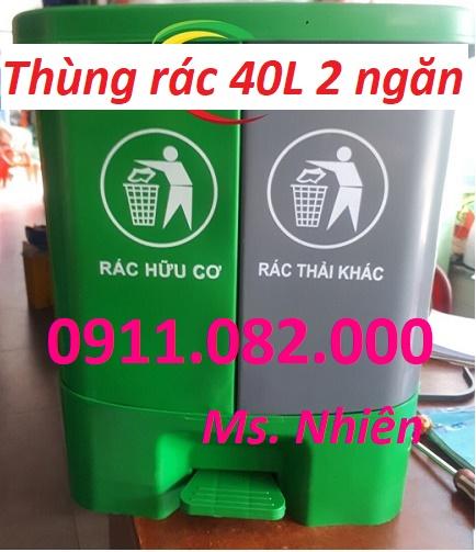 Thùng rác 40 lít 2 ngăn giá rẻ- sỉ thùng rác 120L 240L 660L giá thấp- lh 0911082000
