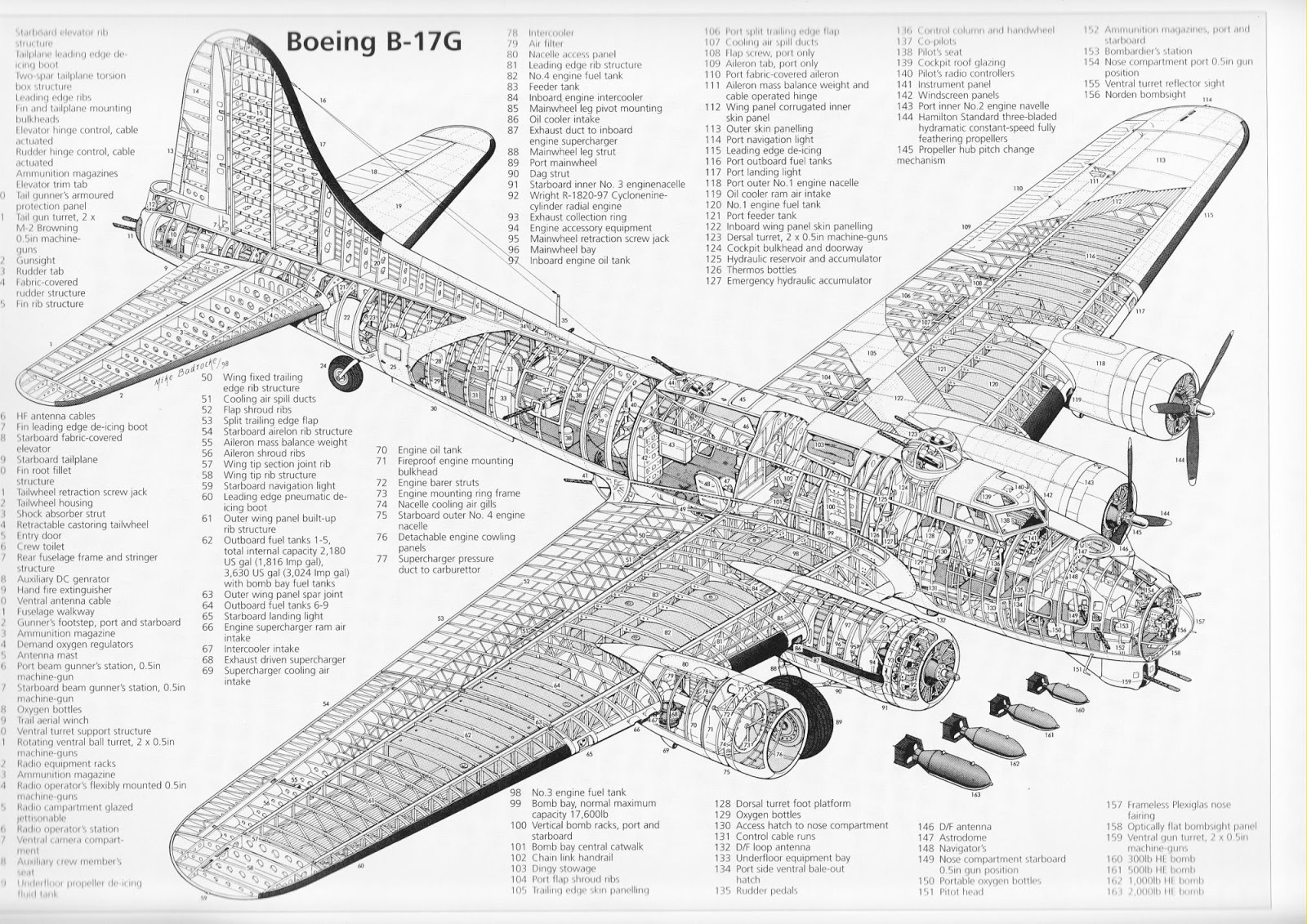 cut away view of b 17 [ 1600 x 1131 Pixel ]