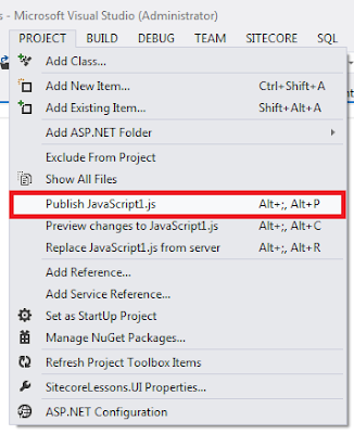 Publish File from Project Menu