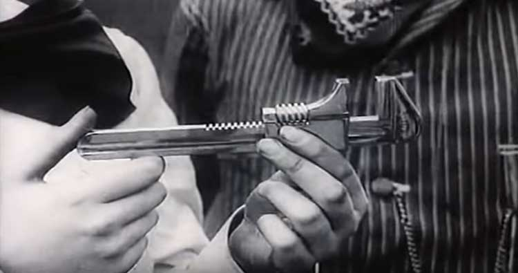 A key reveal of a wrench in D.W. Griffith's short The Lonedale Operator.