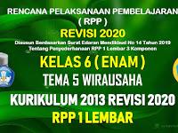 RPP 1 Lembar Kelas 6 Tema 5 SD/MI Kurikulum 2013 Revisi 2020 Tahun Pelajaran 2020 - 2021