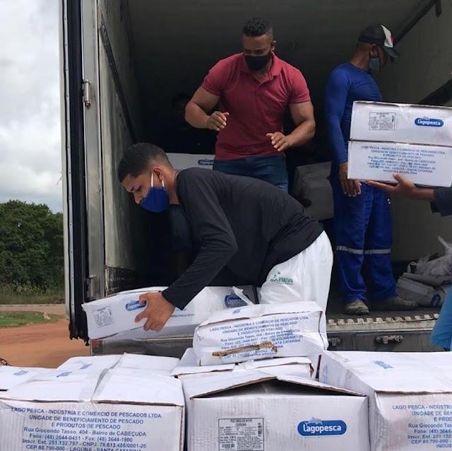 Prefeitura de Itanagra inicia distribuição de peixes para famílias do município