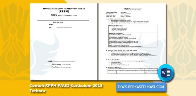 Contoh RPPH PAUD Kurikulum 2013 Terbaru