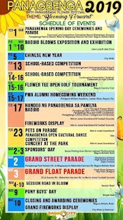 Panagbenga Festival 2019 Schedule of Activities and Events