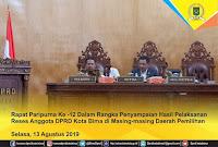 Dipimpin Ketua, DPRD Kota Bima Gelar Paripurna Penyampaian Hasil Reses